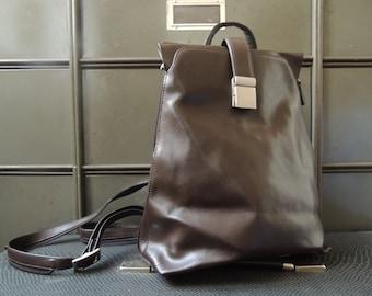 brown leather shoulder bag / Leather backpack, steampunk Bag, Vintage