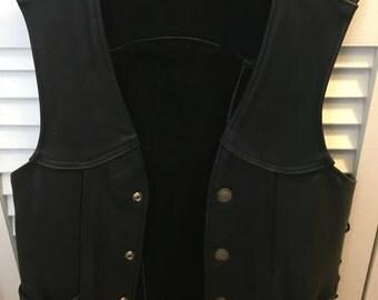 Beautiful Black Leather Biker Vest