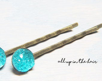 Teal Druzy Bobby Pins - Teal Druzy Hair Pins - Teal Bobby Pins