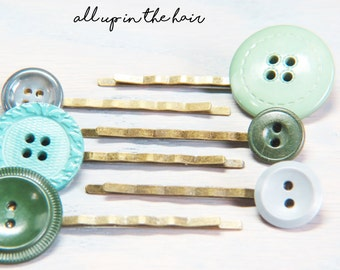 Green Button Bobby Pins - Green Hair Pins - Bobby Pin Set - Unique Bobby Pins