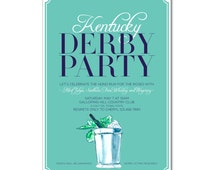 Kentucky Derby Invitation with hand-painted Mint Julep - 142nd Run for the Roses - Printable and Personalized