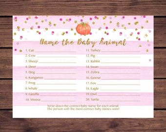 Pumpkin Baby Animal Name Game, Baby Shower Game, Pink and Gold, Pink Stripes Who's My Mommy Game, Instant Download  Printable 939