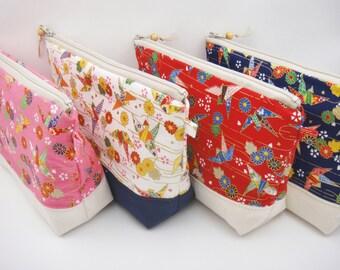 Japanese zipper pouch, Makeup bag, Kimono pouch, Zipper bag, Origami cranes