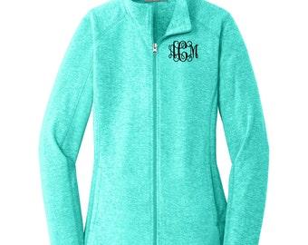 Monogrammed Fleece Full Zip Jacket. Personalized Ladies Heather Microfleece Full Zip Jacket. Monogrammed Jacket For Her. L235