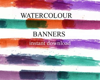 colorful graphic banners, instant download, watercolor artwork created by Louise at artzestore