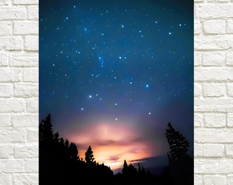 Silent Night - night photography. starry sky print. nature prints. night sky wall decor. dreamy night sky print.