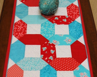 "Cheerful Red, White, Turquoise Blue Handmade Patchwork Table Topper, Table Runner, Amy Butler Fabric, 15 1/2"" x 39"""