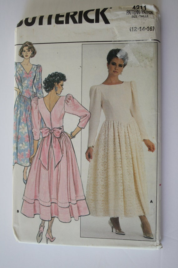 Dress sewing pattern uncut butterick 4211 womens size 12 for Lace wedding dress patterns to sew