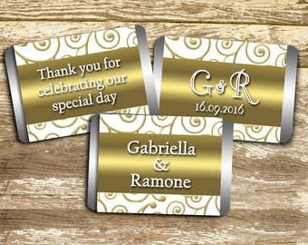 Hershey Mini Candy Wrappers - White and Gold Wedding, Wedding Favors, 50th Anniversary, wedding stickers, Bridal Shower Favor