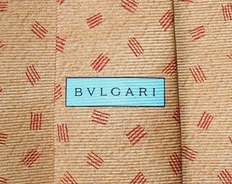 Bvlgari Tie Woven Silk Geometric Repeat Pattern Brown Vintage Davide Pizzigoni Designer Dress 7 Fold Necktie Made In Italy
