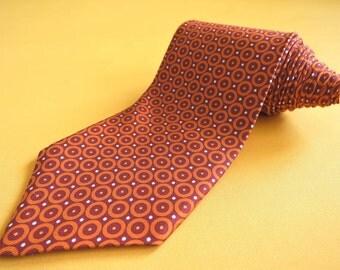Brooks Brothers Tie Pure Silk Circle Repeat Pattern Orange Vintage Designer Dress Necktie Made In USA (22/3)