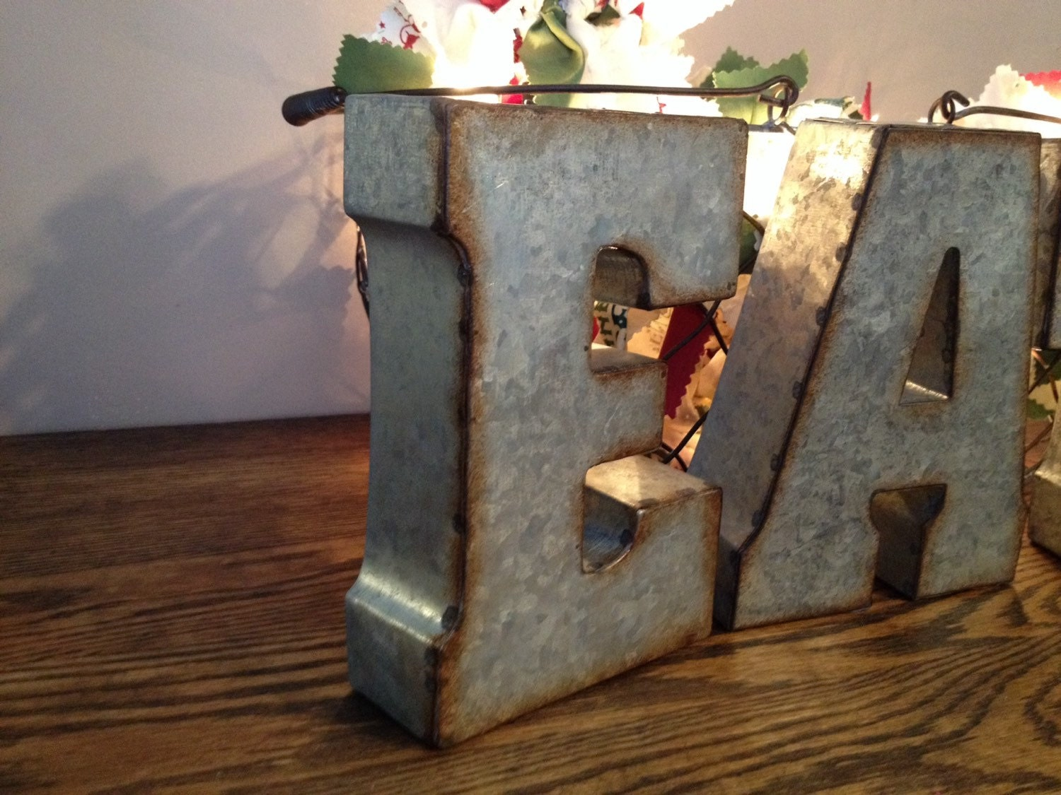 Large galvanized metal eat letters 3d hanging by peacebabys for Giant galvanized letters