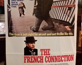 "Rare Original 1971 Vintage 27"" x 41"" The French Connection Movie Theater Poster"