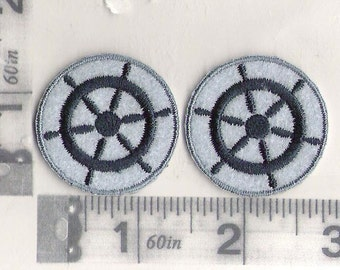 Pair of Nautical Ships Wheel iron on patches