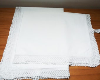 Pair of white, pure cotton vintage pillowcases with hand knitted lace trim
