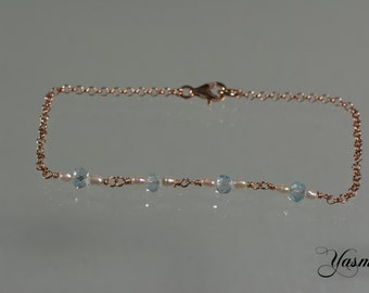 Topaz and Pearl very delicate rose gold plated
