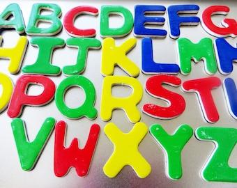 ABC Wood Magnets, Wooden Alphabet Magnets, Children's School Supplies