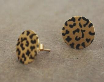 Leopard Earrings Leopard Print Leopard Studs 18K Gold Earrings Gold Plated Stud Earrings Animal Print Leopard Jewelry Christmas Gift