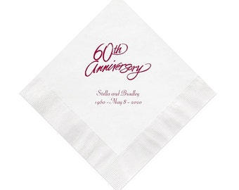 60th Script Anniversary Napkins Personalized Set of 100 Napkins Anniversary Party Supplies