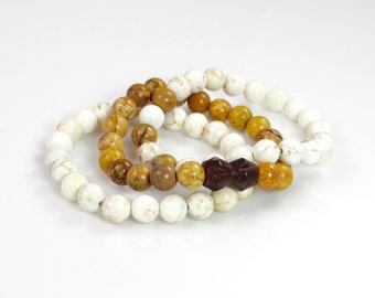 Boho Beaded Stretch Bracelets Jasper Howlite and Wood Beads