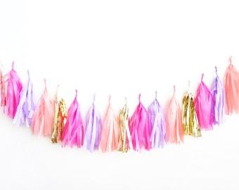 Hot Pink and Lavender Tassel Garland - tissue paper fringe  tassel banner