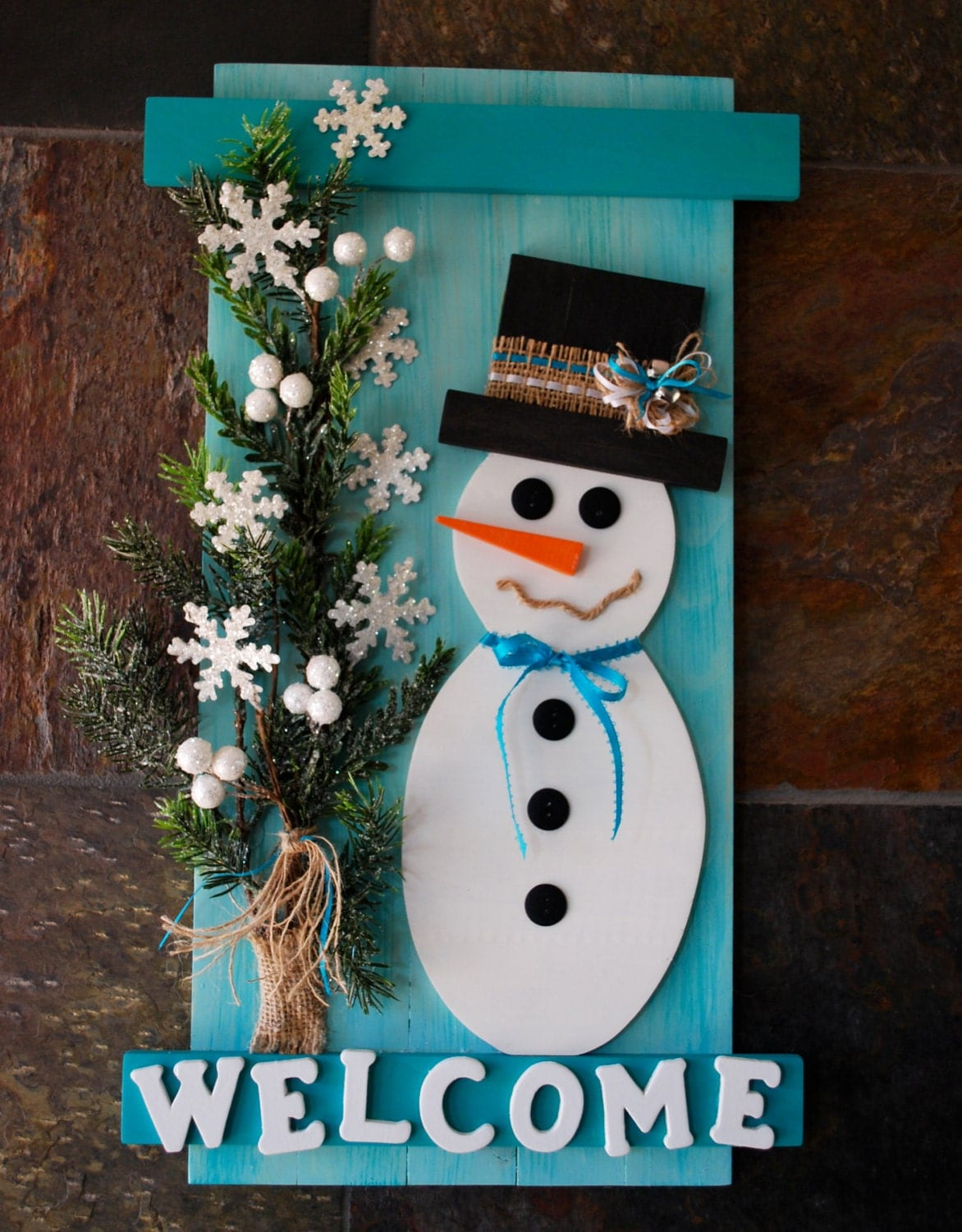 Rustic snowman wall plaque pallet wood snowman welcome sign - How to make a snowman out of wood planks ...