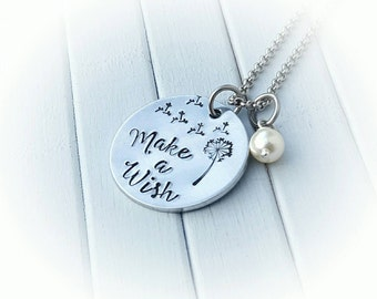 Make a wish necklace, hand stamped wish necklace, wish necklace, dandelion fluff necklace, dandelion necklace, dandelion jewellery,