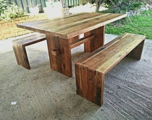 Barn Style Recycled Timber Table and optional bench seats / made from Oregon / Douglas Fir / Country Cottage / Rustic /  Australian Made