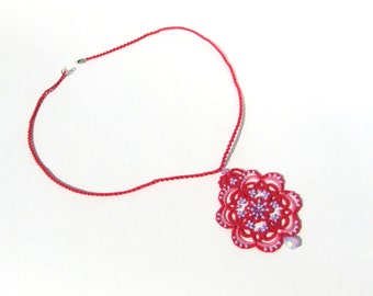 Dark pink pendant with purple beads, lace necklace, tatted necklace, tatting jewelry,  summer , fashion, gift, for her, boho