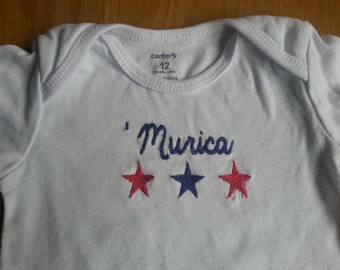 Patriotic baby bodysuit -red, white and blue, USA Murica America, July 4th, Independence Day onesie, stars stripes