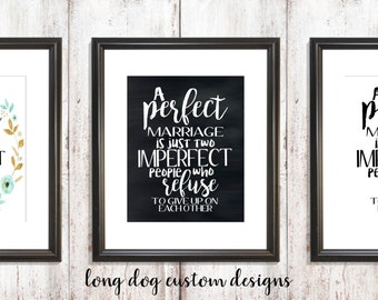 A Perfect Marriage Quote Wall Art