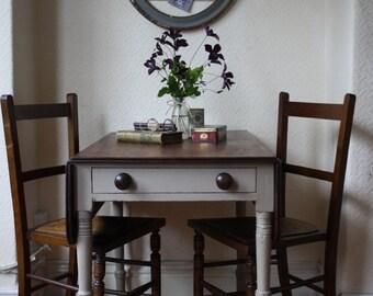 Restored Vintage Drop Leaf Table on Castors with Single Drawer in Mousse Grey