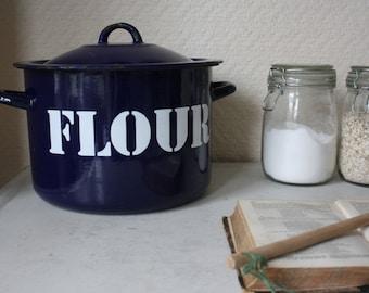 Large Vintage Blue Enamel Flour Tin