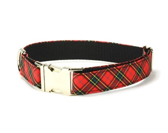 Red Plaid Dog Collar, Red Tartan Dog Collar, Plaid Dog Collar, Red Black Plaid Dog Collar, Red Plaid Collar