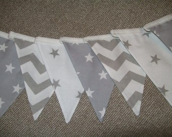 Beautiful Cotton Double Sided Bunting - Grey Stars and Chevrons- Nursery, Baby Boy, Christening