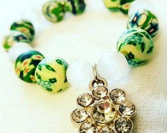 SALE, Girls Easter Bracelet, Toddler Flower Bracelet, Spring Jewelry, Polmer Clay Beads, Flower Charm, Rhinestone Charm
