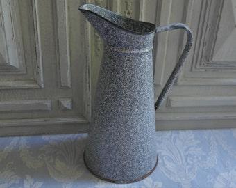 Vintage French enamel large gray jug, pitcher, flower vase, mottled splatter, marbled enamelware, industrial loft deco, classic design