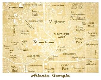 Atlanta Neighborhoods Map Art Print, Downtown Atlanta Map, GA Tech, Atlanta Map Art