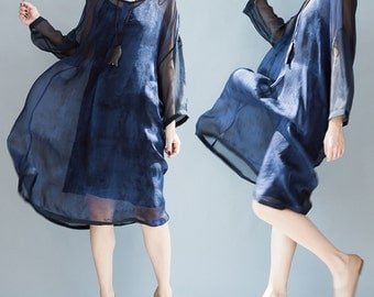 women leisure silk dress women summer dress women dress women blue silk dress/ALDXGOCT05N156