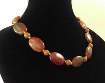 Agate, Brown Fire,  necklace