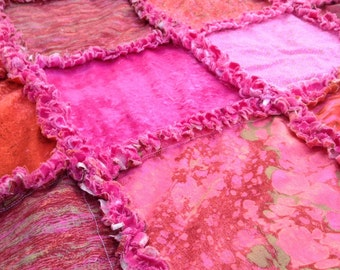 Pink & Red Rag Quilt