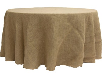 "120"" Round Faux Burlap Tablecloth"