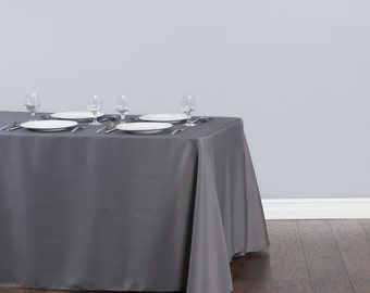 90 X 132 Inch Rectangular Charcoal Gray Tablecloth Polyester | Wedding  Tablecloth