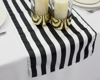 Black & White Stripe L'Amour Satin Table Runner | Wedding Table Runner