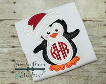 Santa Hat Penguin Applique Design ~ Instant Download