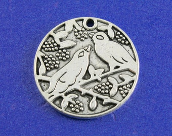 2 pcs- Large Bird Charm, 28mm Round Coin Charm, Magpie and Floral Medallion Pendant