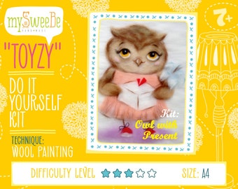 Tz-P032 Toyzy Kit «Owl With Present» - Wool Painting A4