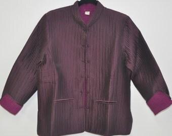 Quilted silk jacket Large size Dark Plum
