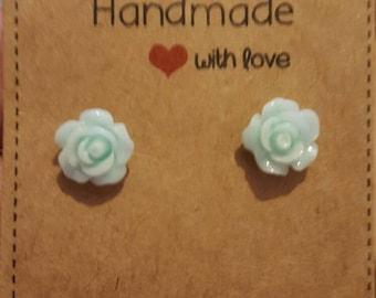 Light teal rose flower stud earrings