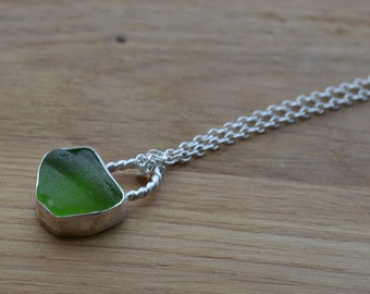 Tiny Silver Bezel Sea Glass Choker